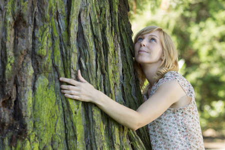 looking around: Woman hugging large tree trunk while looking up Stock Photo