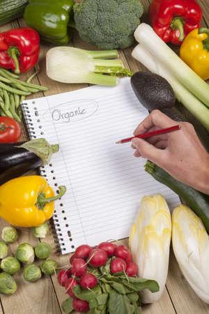 Hand writing list of organic vegetables