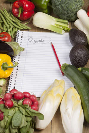 Book surrounded with variety of vegetables on wooden surface Standard-Bild