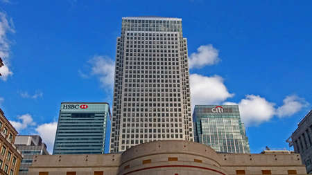 Canary Wharf towers in the Docklands area of London