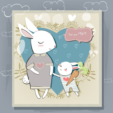 Tarjeta linda con liebres blancas para el día de madres Foto de archivo - 46287392