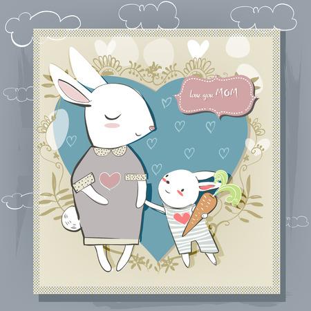 cute babies: Tarjeta linda con liebres blancas para el d�a de madres Vectores