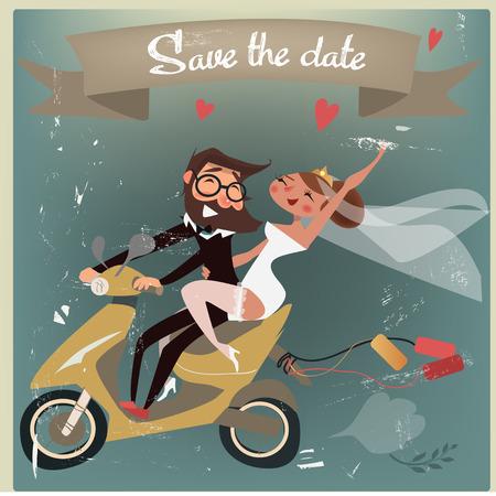 matrimonio feliz: pareja de novios en scooter