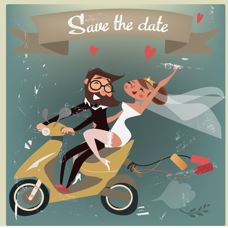 wedding couple: wedding couple on scooter