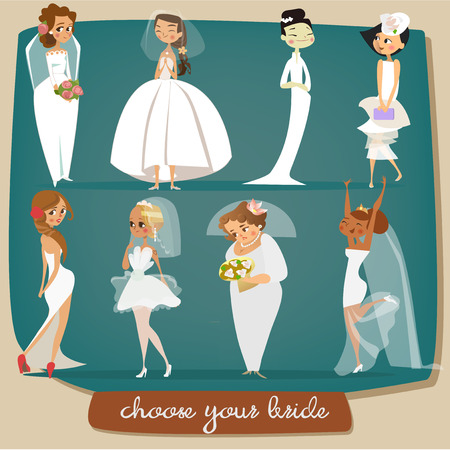 elegant couple: set with cartoon brides