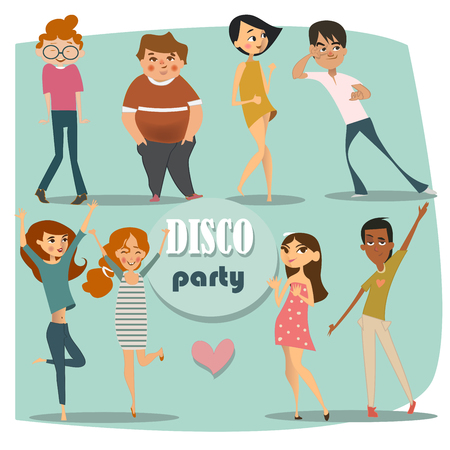 disco girls: set with dancing people