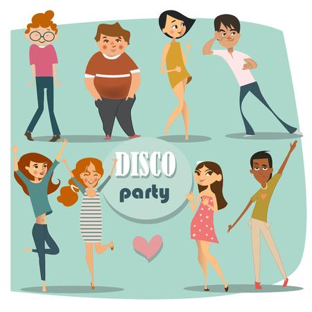 taniec: zestaw z tańczących ludzi Ilustracja