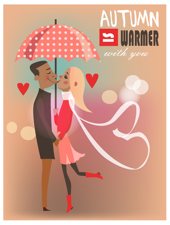 girlfriend: kissing ciuple under umbrella - card for valentines day