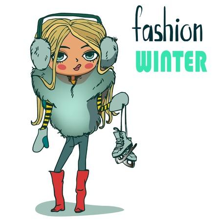 ice skates: cute cartoon winter girl