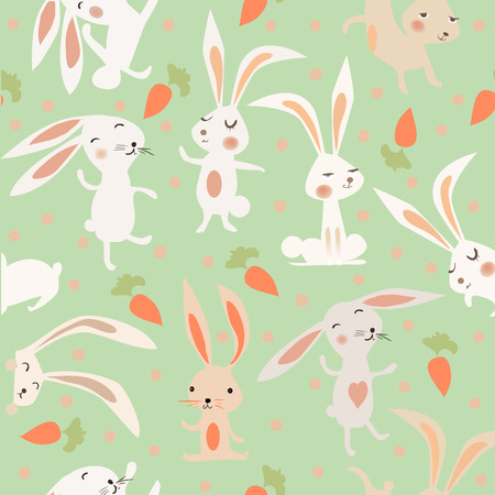 cartoon carrot: seamless pattern with cute hares