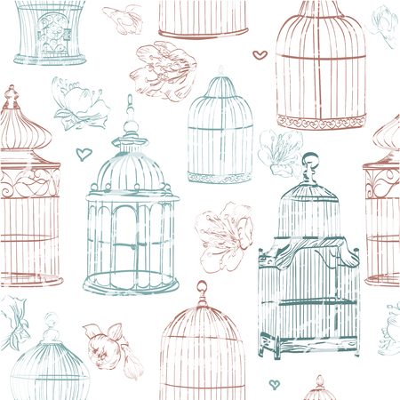 decoration style: seamless pattern with cages