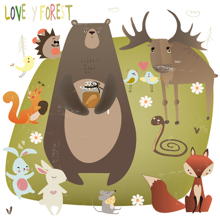 cute bear: set with wild animals Illustration