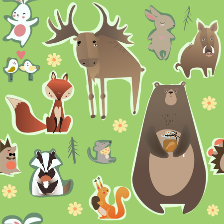 seamless pattern with cute animals Imagens - 47464951