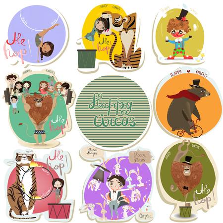 payasos caricatura: establecer con pegatinas de circo de dibujos animados