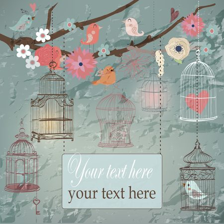 flora vector: Background with cages