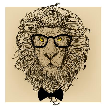 メガネを持つライオン文字の肖像画