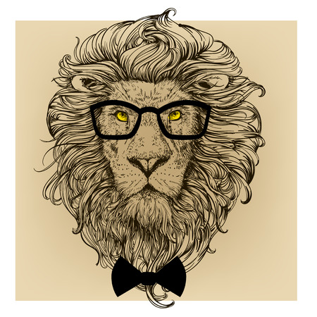 lion character portrait with glasses Stock Vector - 50897573