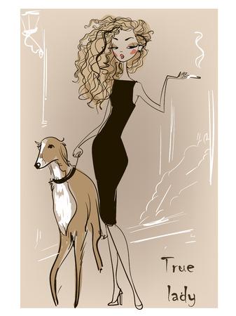 beautyful Sommer Frau mit Hund