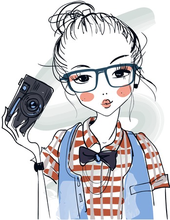 cute fashion cartoon girls in sketchy style