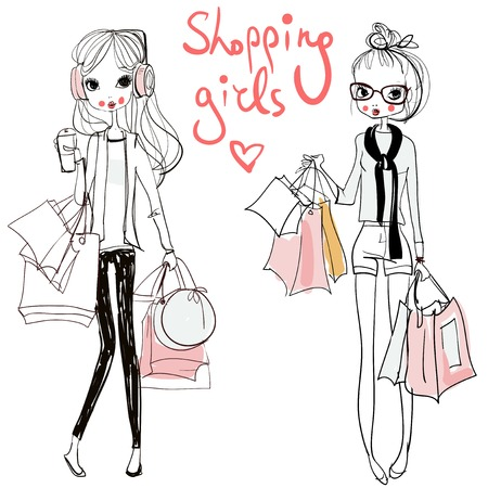 cute fashion cartoon girls in sketchy style Imagens - 50897568