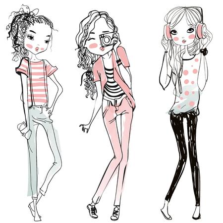 Мода: милые мода мультфильм девочек в эскизной стиле Иллюстрация