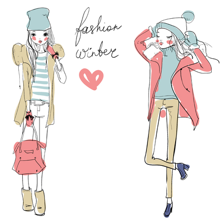 gorgeous woman: cute fashion cartoon girls in sketchy style