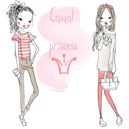menina: meninas bonitos dos desenhos animados da forma no estilo esbo Ilustração