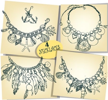shell: set with 4 sketches of necklaces Illustration