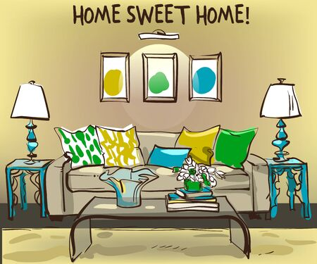 dressing room: home interior with sofa and coffee table - vector illustration