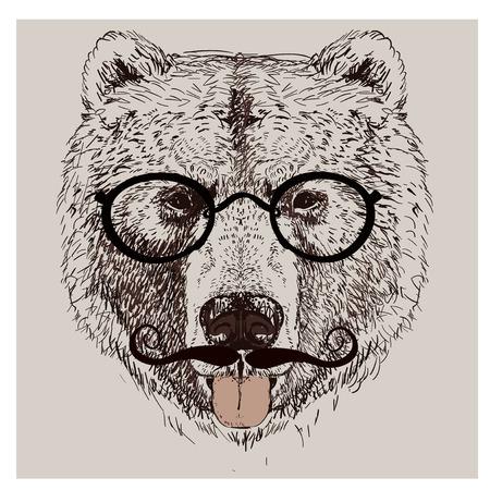 hipster portrait of wild bear with glasses Ilustração