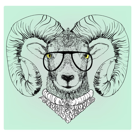 hipster portrait of ram with glasses and sweater