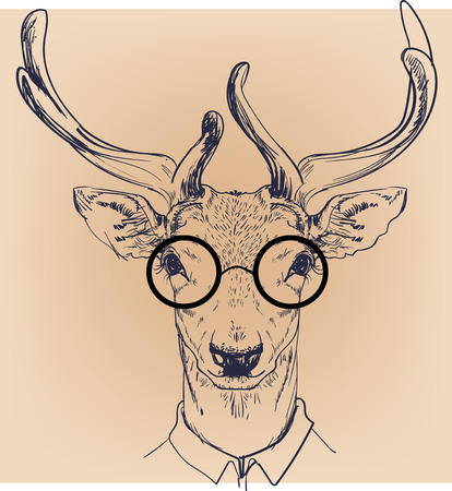 smart boy: hipster portrait of wild deer with glasses