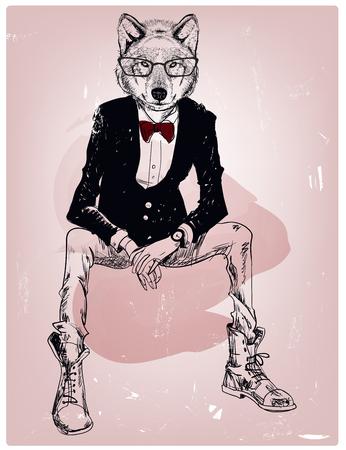 Portret hipster dzikiego wilka z okularami
