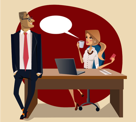 office scene: office scene with cute woman and man on the table Illustration