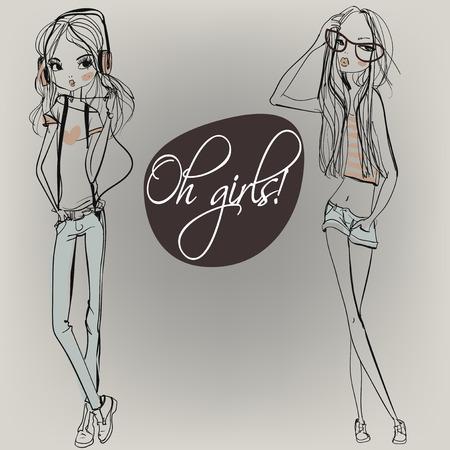 Nette Art und Weise Cartoon Mädchen in flüchtigen Art Standard-Bild - 51244798