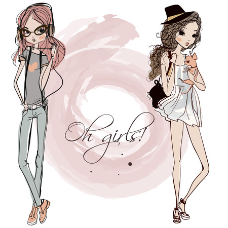 young girl models: cute fashion cartoon girls in sketchy style