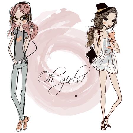 monas: lindo muchachas de la historieta de la manera en estilo incompleto