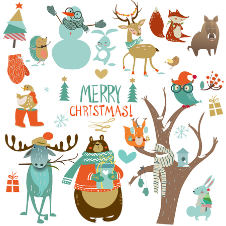 christmas winter set with cute wild animals