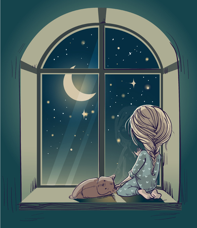 child sleeping: little cute cartoon girl with Teddy bear and the moon night