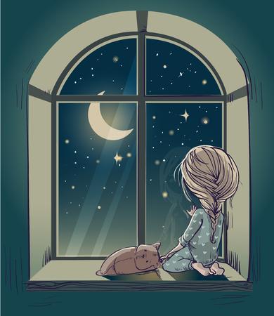 petite fille triste: petite fille mignonne de bande dessinée avec un ours en peluche et la nuit de la lune Banque d'images