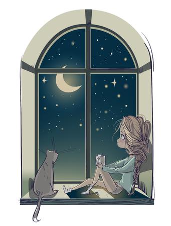 kleine leuke cartoon meisje met kat en de maan nacht
