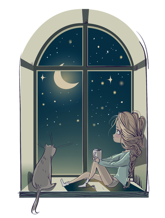 niña linda de dibujos animados con gato y la noche de luna