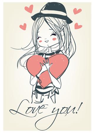 Beautiful girl with a heart. Cute girl. Romantic girl.
