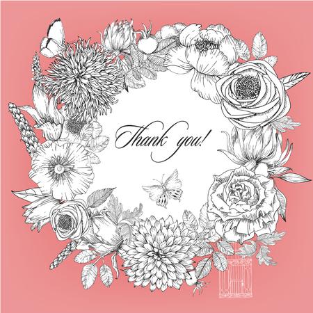 round krans frame van verschillende bloemen. Zwart-wit frame van de rozen, hortensia en de hond-roos. vector illustratie Vector Illustratie