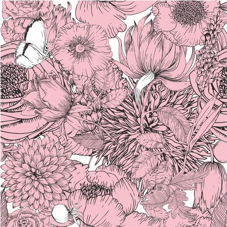rosas blancas: Modelo inconsútil hermoso con los elementos florales de la ilustración de la vendimia garden.Vector