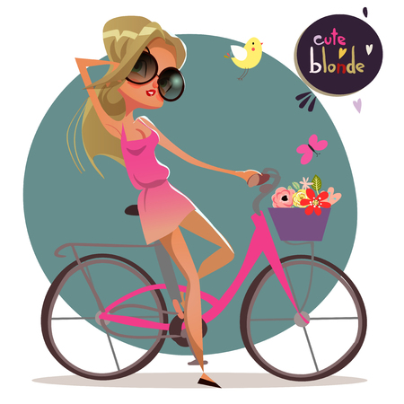 vacance: cute cartoon summer blonde girl on the bycicle