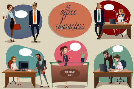 working dress: collection of office scene with cute women and men