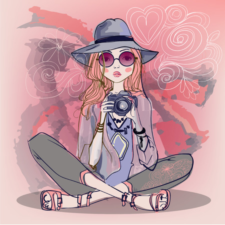 cute fashion cartoon girls in sketchy style Stok Fotoğraf - 52266338