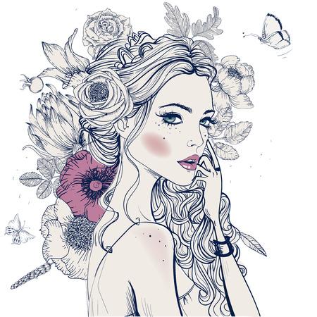 mujeres elegantes: retrato de mujer joven y bella con el avance de las flores
