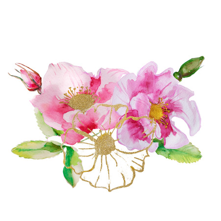 gold floral: Beautiful card with a floral wreath of vintage garden.